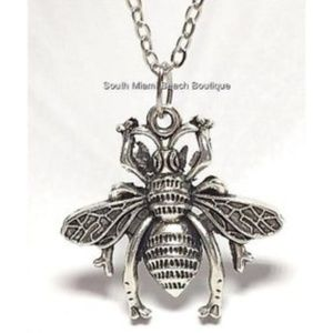 "Silver Bumble Bee Necklace 18"" Queen Bea Insect"